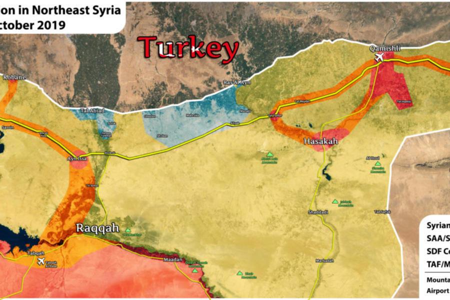 Situación militar en el noreste de Siria   Octubre 18, 2019 (Mapa AMN)